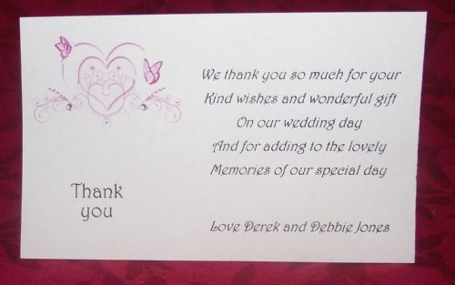 Thank You Gift Cards Wedding Personalised Printed Heart Butterfly Design various colours x 10